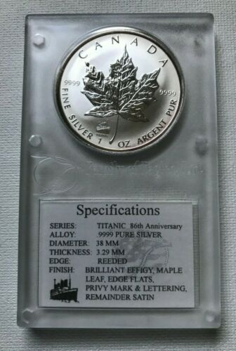 1998 Canada Silver Maple Leaf Titanic Privy $5 Dollars 1oz 9999 Silver COA