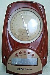 Retro Look Emerson  Great Working AM/FM Clock Radio Brown + Beige