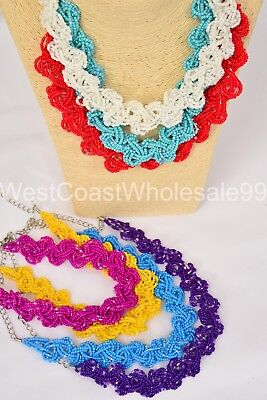 7 PC Seed Bead Braid Fashion Necklaces Costume Jewelry Wholesale Lot 7 Necklaces - Bead Necklaces Wholesale