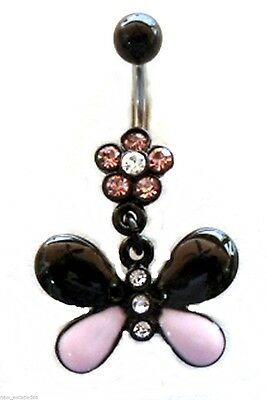 (Belly Ring Butterfly 2-Tone Pink/Black Animal Dangle Naval Steel Body Jewelry)