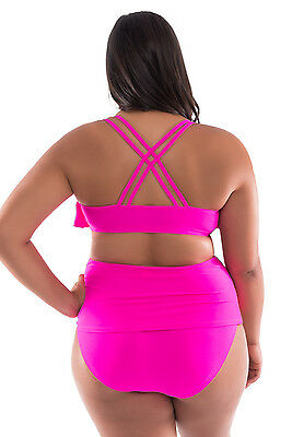 Moxi Blu Womens Size 2X  18 20W  Swim Suit Briefs Fuchsia Pink Tankini Nwt