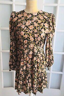 NWT ZARA Multicolor PRINTED MINI DRESS Pleated Waist Ruffled Hem Size M 2155