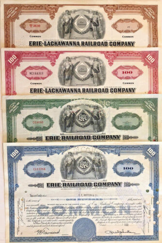 Set of 4 railroad stock certificates > Erie & Erie-Lackawanna shares