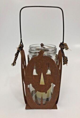 Halloween Rusty Pumpkin Square Candle Lantern