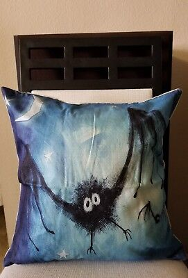 Happy Halloween GOING BATTY Linen Throw Pillow Case Cover 18