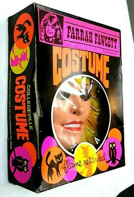 Farrah Fawcett Costume (Vintage 1977 Collegeville Halloween Costume Farrah Fawcett Mask w/Original)