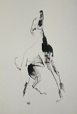 Original signed Ink sketch painting of a Whippet A4