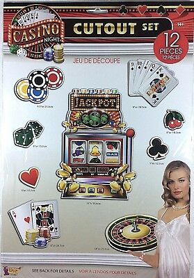 12 PIECE CASINO NIGHT CUTOUT SET PARTY DECORATION card dice chips jackpot   - Casino Night Decor