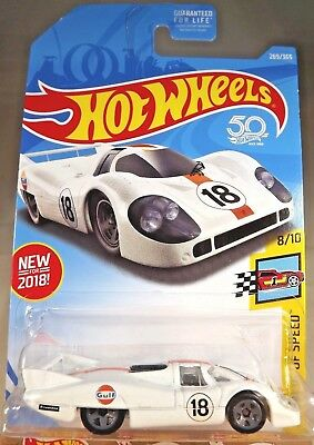 2018 Hot Wheels #269 Legends of Speed 8/10 Gulf  PORSCHE 917 LH White w/Gray 5Sp