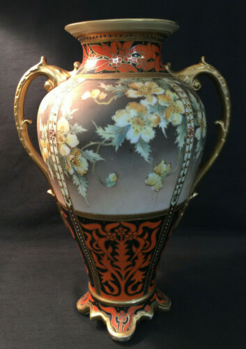 "VICTORIAN JAPAN PORCELAIN FLORAL HAND PAINTED NIPPON 14"" GOLD DOUBLE HANDLE VASE"