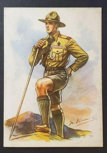 Mint Czechoslovakia Boy Scout Hiking with Walking Stick Illustrated Postcard