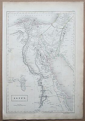 1844 MAP EGYPT ARABIA NUBIA RED SEA Genuine Antique Map