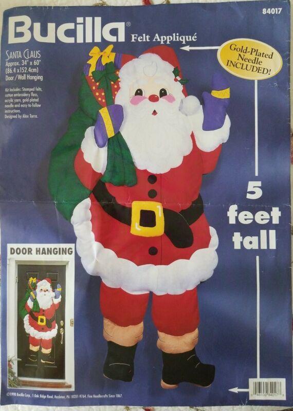 "Bucilla Santa Claus Door or Wall Hanging Kit 5 Feet Tall Felt Applique 34 X 60"""