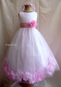 Flower Girl Dress Rose Petals Pageant Party Dress Size 2 - 4 - 6 - 8 - 10 - 12