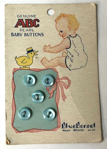 Vtg BlueBonnet  ABC Buttons Baby BLUE Pearl ~ New on Card ~  5 Tiny Blue Buttons