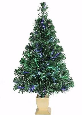 "FIBER OPTIC Christmas Tree Green 32"" USA Plug & USB Color Changing Lights!"