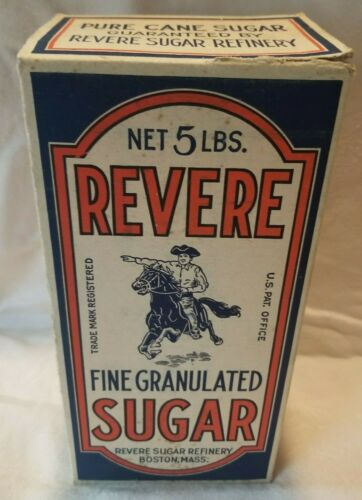 Vtg Paul Revere 5 lb Sugar Paper Box Carton Boston Old Grocery Advertising