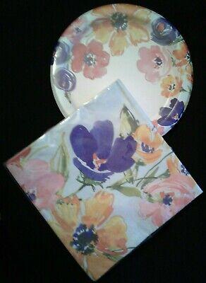 Unique Paper Plates (Unique Floral 8 Ct Paper Plates & 16 Ct 2 Ply)
