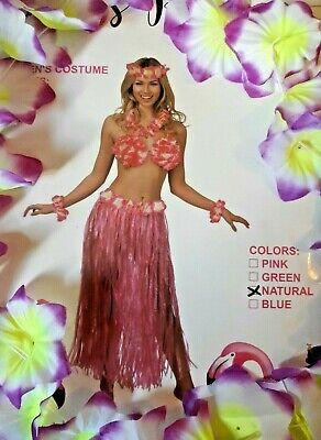 Hawaiian Luau Costume 7Pc- Grass Skirt -Natural Color- Floral Bra- Arm/Neck Leis Grass Skirts Leis