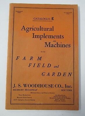 1939 J. S. Woodhouse Co. Catalog of AGRICULTURAL IMPLEMENTS & MACHINES Illus.
