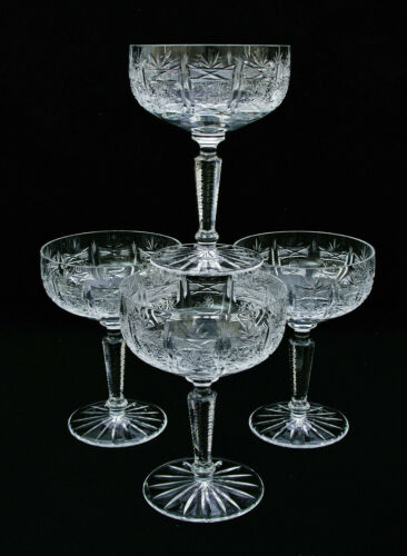 "(4) CJ RIEDEL CRYSTAL SAN MICHELE CUT 5 1/4"" CHAMPAGNE / TALL SHERBET GLASSES #1"
