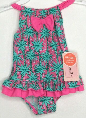 Floatimini Toddler Girls 1pc Swimsuit Pink Green Palm Trees UPF 50+ Size 2T NWT