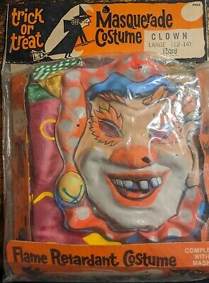 Vintage 1960's Clown Jester Ben Cooper Collegeville Halloween Mask Costume