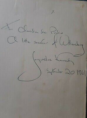 PAIR Jackie Kennedy Signed Books as First Lady to First Lady of Peru JSA LOA NR! Jackie Kennedy Collection