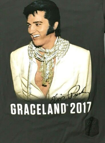 Elvis Graceland 2017 Elvis Presley 40th Anniversary Gray T Shirt Size Small