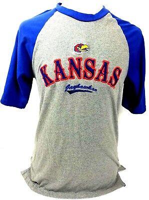 70c60c404597 Kansas Jayhawks T-Shirt Embroidered Blue OVB Old Varsity Men s Size Large