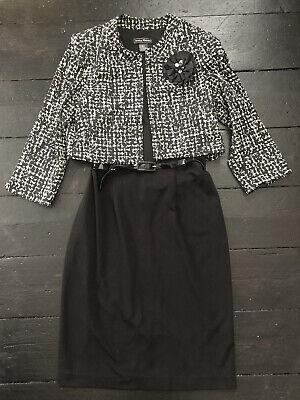 Jessica Howard Black Chanel Style Dress Jacket Set Size 14