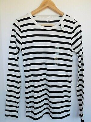 NWT GAP Women's Favorite LS Crew Black Striped T-Shirt X-Small MSRP$25