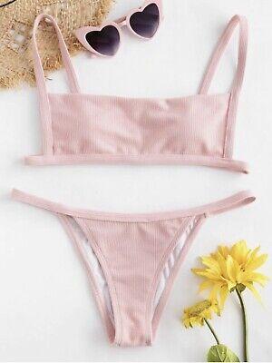 ZAFUL Damen Geripptes String-Bikini-Set-Brazilian Einfarbig Rosa