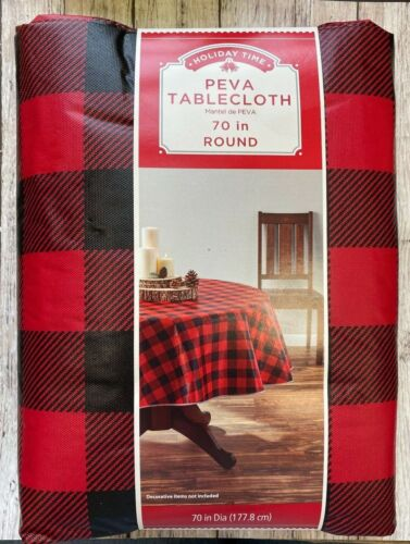 "Black and red Buffalo plaid reusable Table Cover tablecloth 70"" round"