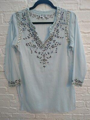 Juliet Dunn Blue Sequin Kaftan Dress Size 1 UK 8 10 Embellished Hippy Boho Top