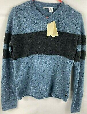 New Armani Exchange Mens Authentic Colorblock Black Blue V Neck Sweater Sz XS