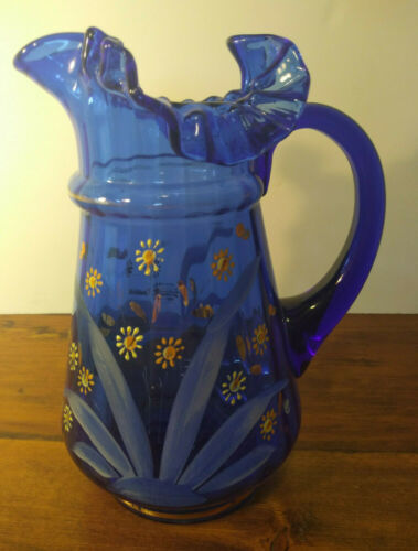 Antique Victorian Ruffled Cobalt Blue Glass & Gold Enamel Painted Pitcher Daisy