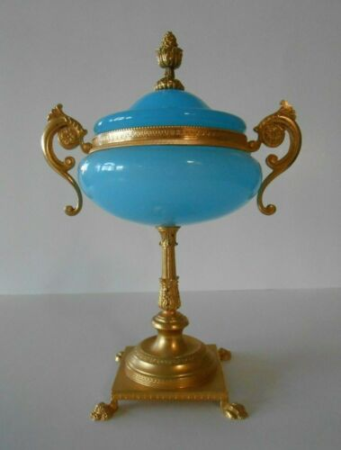 Antique Gilt Metal Mount Blue Opaline Glass Lidded Compote Bowl Claw Feet