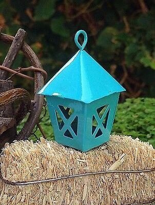 Miniature Dollhouse FAIRY GARDEN Accessories ~ Mini Metal Blue Lantern ~ NEW