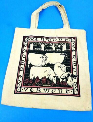 VINTAGE 1988 VERMONT SHEEP CLOTH COTTON CANVAS SHOPPING BAG TOTE