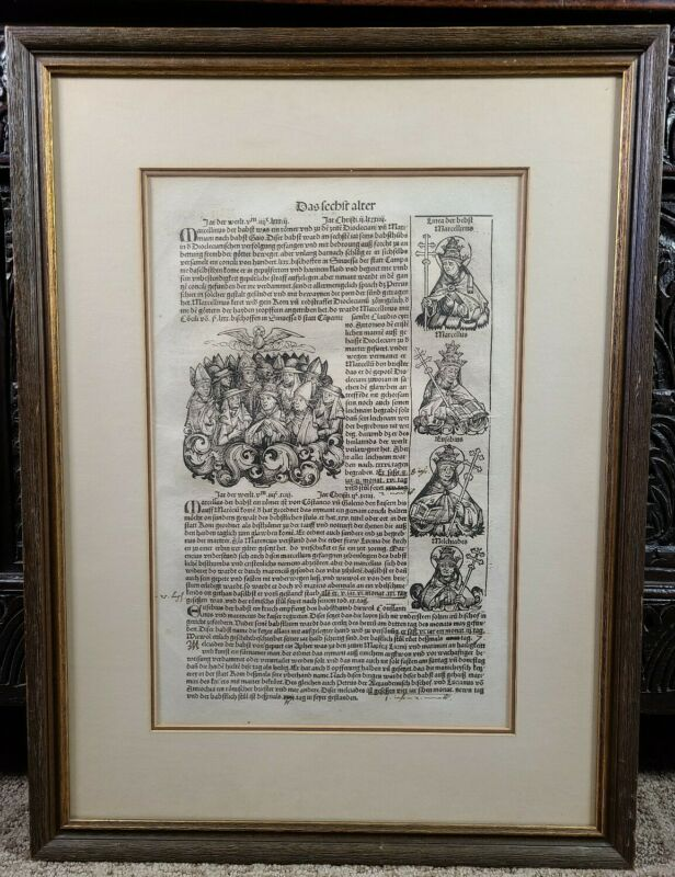 Antique Nuremberg Chronicle Incunable Leaf Page Woodcut Liber chronicarum 1493