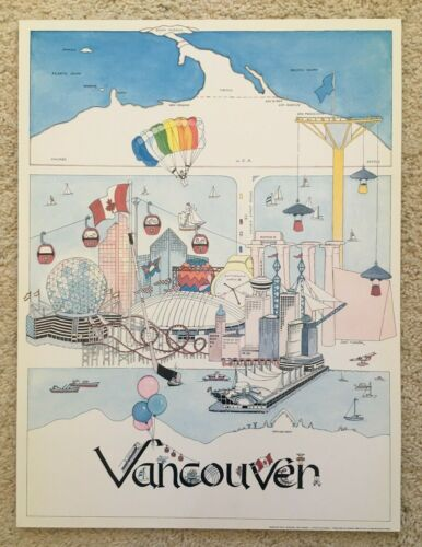 """Expo 86 Lithograph Picture Map Vancouver B.C. Rick Laybourn Jeri Turner 18""""X24"""""""
