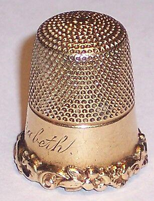 ANTIQUE 14K SOLID GOLD THIMBLE CARTER GOUGH  CO HEAVY SCROLLS NAME ELIZABETH
