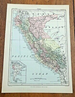 circa 1880s colour map of peru !  ( adam & charles black )