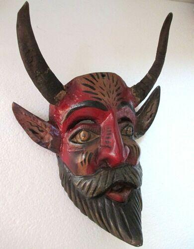 "Wood Carving Wall Mask Mexican Folk Art Goat Horn Devil Head Guerrero 12"""
