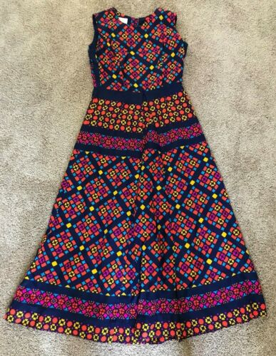 Vintage Ja Na Of Hawaii Hawaiian Aloha Maxi Multi Color Sleeveless Dress Size 10