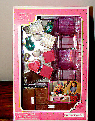 6  Lori Doll House Furniture Dining Set W Dishes Buffet Table Modern Moderna Nib