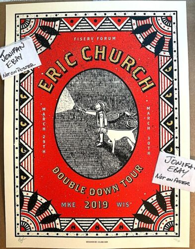 ERIC CHURCH Milwaukee WI 2019 SCREEN PRINT SHOW POSTER ARTIST SIGNED S/N #/50