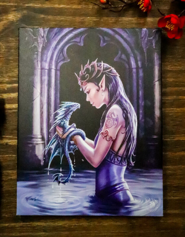 Ebros Anne Stokes Water Dragon Elf Fairy Drake Wood Framed Picture Canvas Decor
