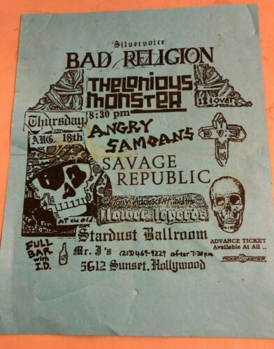 RARE 1988 BAD RELIGION FLYER THELONIOUS MONSTER ANGRY SAMOANS @ STARDUST KBD